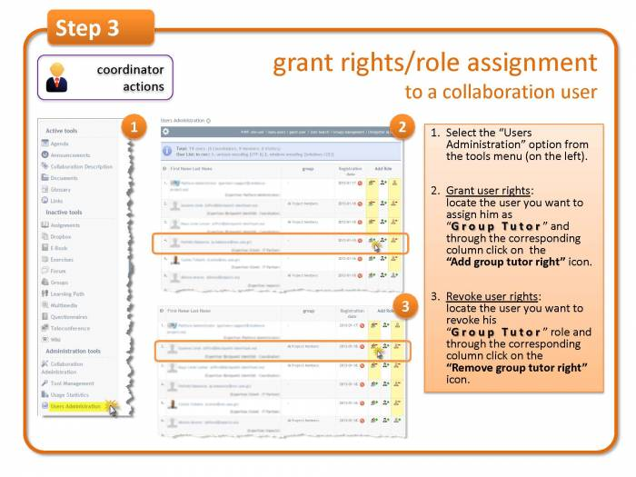 Step 3: grant rights/role assignment to a collaboration user