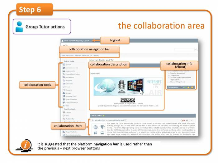 Step 6: enter a group area (as tutor) options