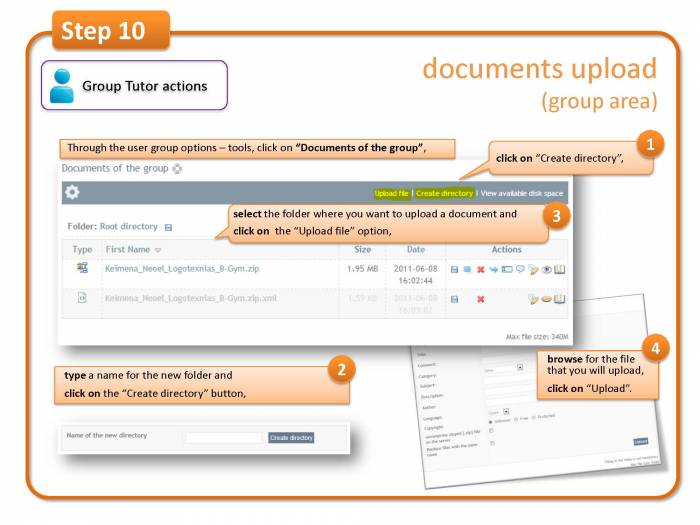 Step 10: documents upload (group area)