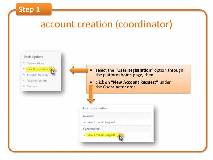 Step 1: account creation (coordinator)