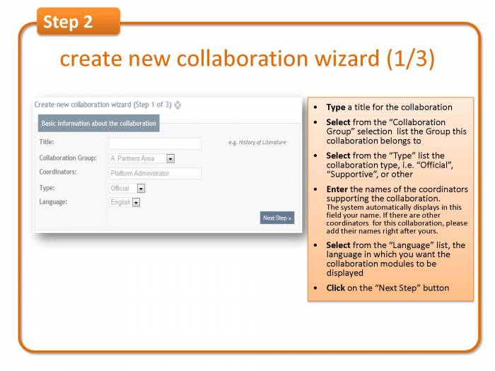Step 2: create new collaboration wizard (1/3)