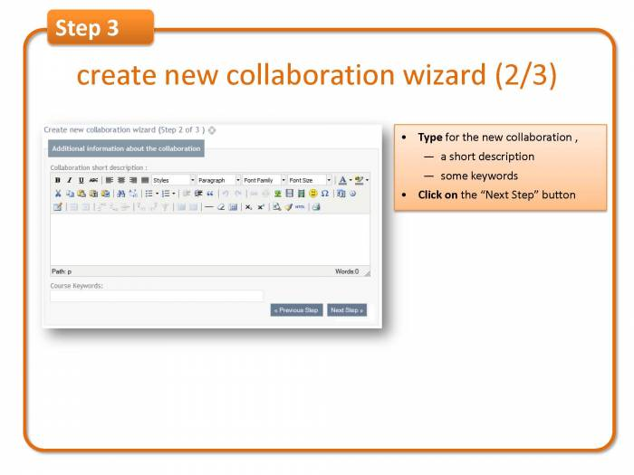 Step 3: create new collaboration wizard (2/3)