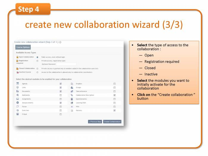 Step 4: create new collaboration wizard (3/3)