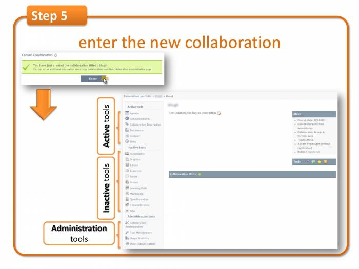 Step 5: enter the new collaboration