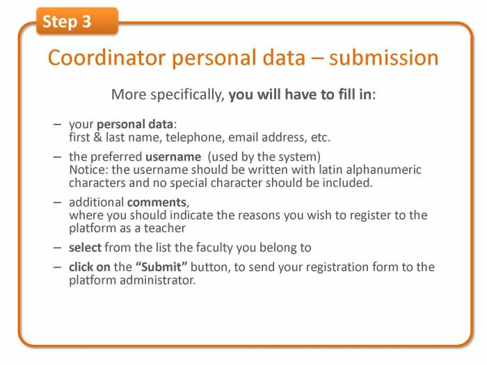 Step 3: coordinator personal data & form submission