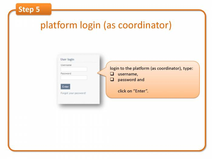 Step 5: platform login (as coordinator)
