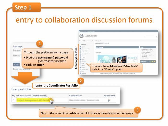 Step 1: entry to collaboration discussion forums