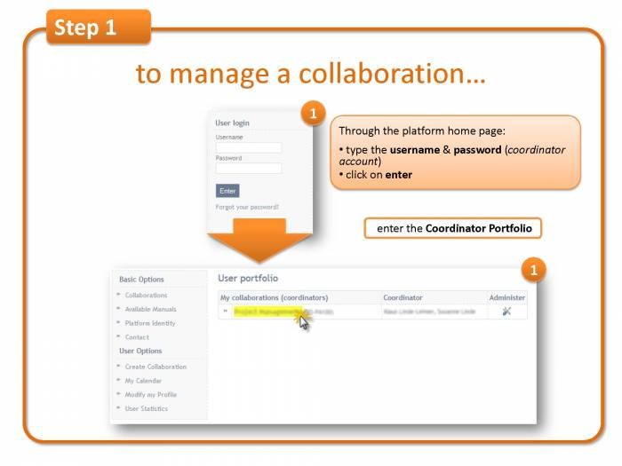 Step 1: to manage a collaboration..