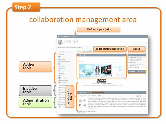 Step 2: collaboration management area