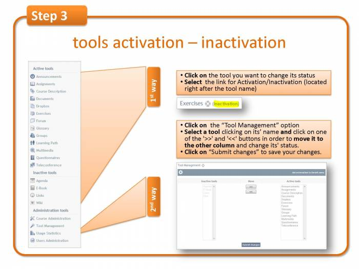 Step 3: tools activation – inactivation
