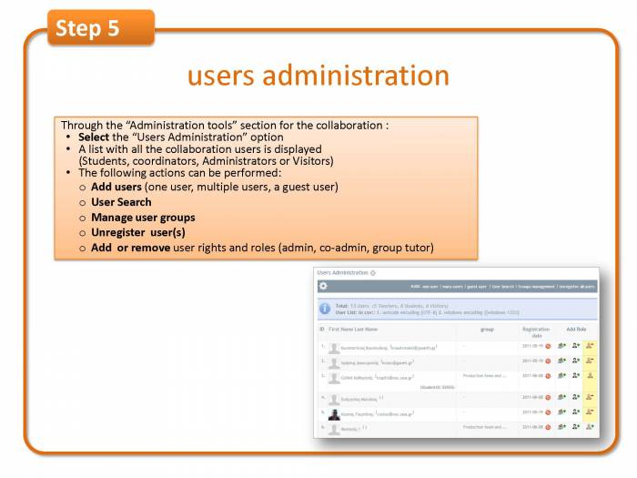 Step 5:users administration