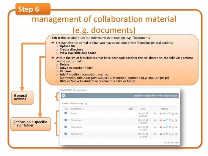 Step 6: management of collaboration material (e.g. documents)