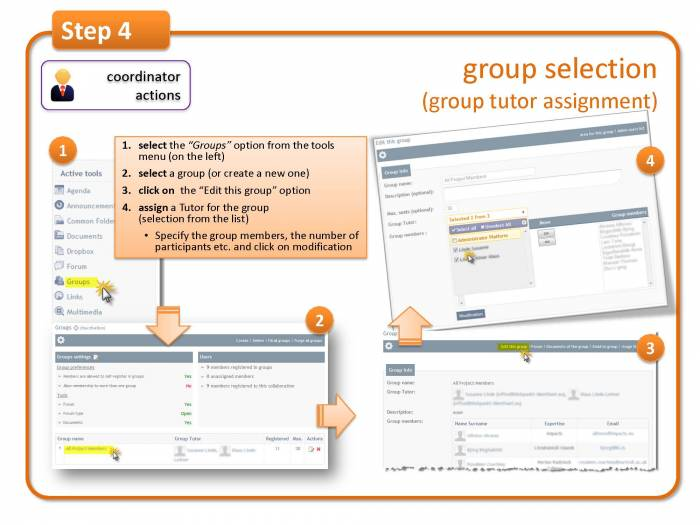 Step 4: group selection (group tutor assignment)